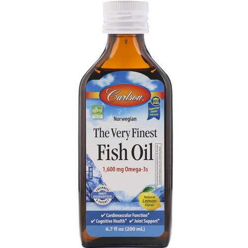 Carlson Labs, Norwegian, The Very Finest Fish Oil, Natural Lemon Flavor, 6.7 fl oz (200 ml) فوائد