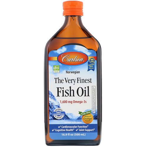 Carlson Labs, Norwegian, The Very Finest Fish Oil, Natural Orange Flavor, 16.9 fl oz (500 ml) فوائد