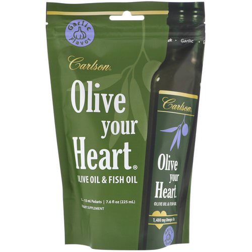 Carlson Labs, Olive Your Heart, Olive Oil & Fish Oil, Garlic Flavor, 1,480 mg, 15 Packets, 15 ml Each فوائد