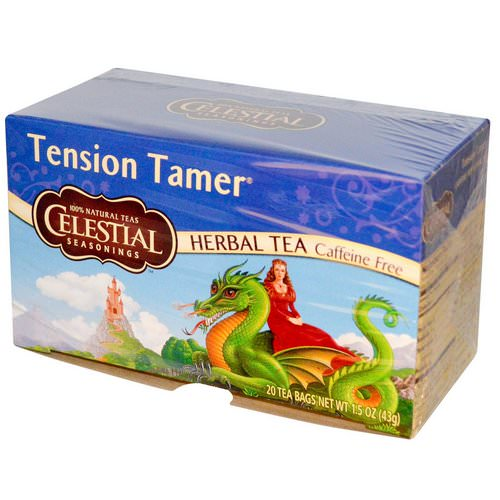 Celestial Seasonings, Herbal Tea, Tension Tamer, Caffeine Free, 20 Tea Bags, 1.5 oz (43 g) فوائد