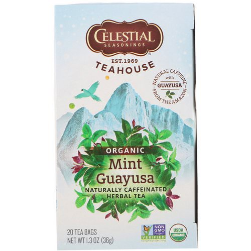 Celestial Seasonings, Teahouse, Organic Herbal Tea, Mint Guayusa, 20 Tea Bags, 1.3 oz (36 g) فوائد