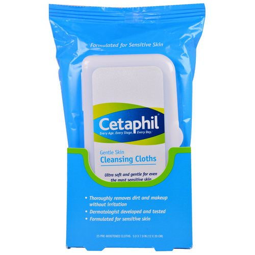 Cetaphil, Gentle Skin Cleansing Cloths, 25 Pre-Moistened Cloths, 5.0 x 7.9 (12 x 20 cm) فوائد