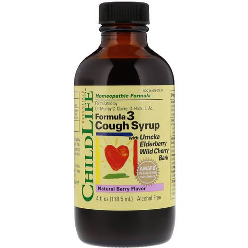 ChildLife, Essentials, Formula 3 Cough Syrup, Alcohol Free, Natural Berry Flavor, 4 fl oz (118.5 ml) فوائد
