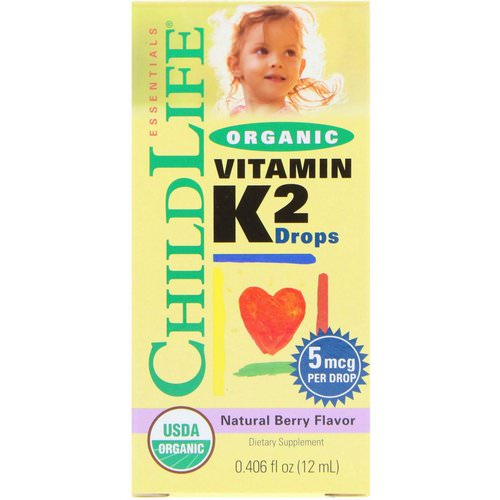 ChildLife, Organic, Vitamin K2 Drops, Natural Berry Flavor, 0.406 fl oz (12 ml) فوائد