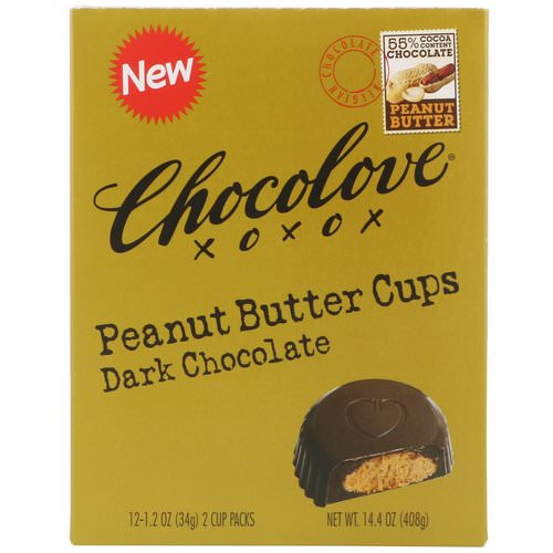 Chocolove, Peanut Butter Cups, Dark Chocolate, 12- 2 Cup Packs, 1.2 oz (34 g) Each فوائد