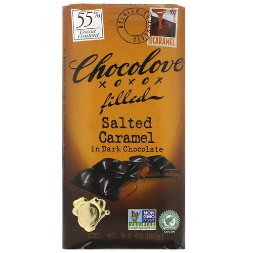 Chocolove, Chocolate Filled Salted Caramel in Dark Chocolate, 3.2 oz (90 g) فوائد