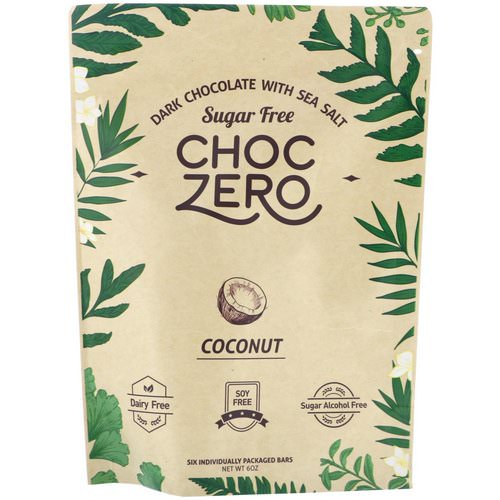 ChocZero Inc, Dark Chocolate With Sea Salt Keto Bark, Coconut, Sugar Free, 6 Bars, 1 oz Each فوائد