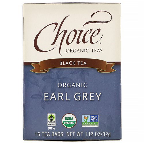 Choice Organic Teas, Organic Earl Grey, Black Tea, 16 Tea Bags, 1.12 oz (32 g) فوائد