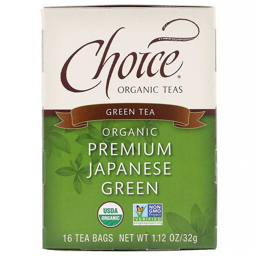 Choice Organic Teas, Organic, Green Tea, Premium Japanese Green, 16 Tea Bags, 1.12 oz (32 g) فوائد