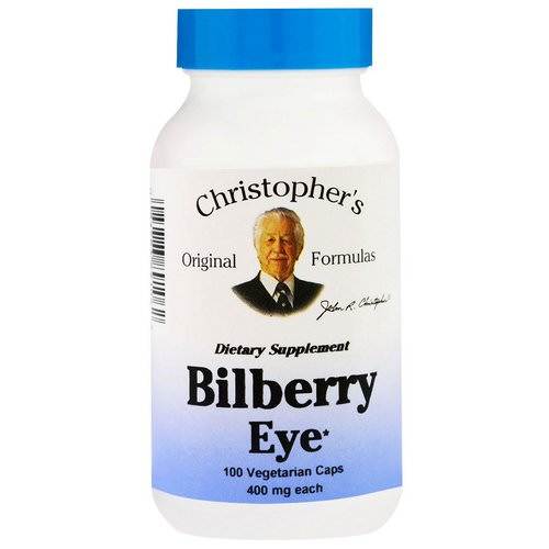 Christopher's Original Formulas, Bilberry Eye, 450 mg, 100 Veggie Caps فوائد