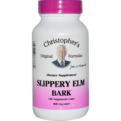 Christopher's Original Formulas, Slippery Elm Bark, 400 mg, 100 Veggie Caps فوائد