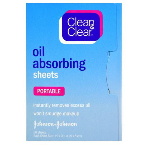 Clean & Clear, Oil Absorbing Sheets, Portable, 50 Sheets فوائد