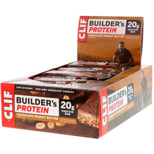 Clif Bar, Builder's Protein Bar, Chocolate Peanut Butter, 12 Bars, 2.4 oz (68 g) Each فوائد