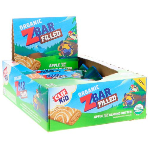 Clif Bar, Clif Kid, Organic ZBar Filled, Apple Filled with Almond Butter, 12 Bars, 1.06 oz (30 g) Each فوائد