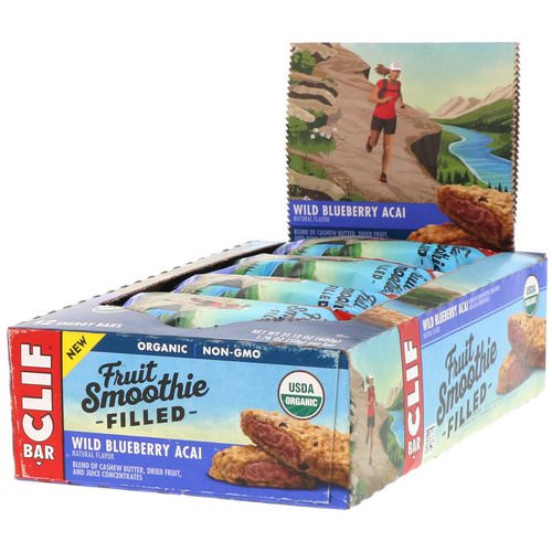 Clif Bar, Energy Bar, Fruit Smoothie Filled, Wild Blueberry Acai, 12 Bars, 1.76 oz (50 g) Each فوائد