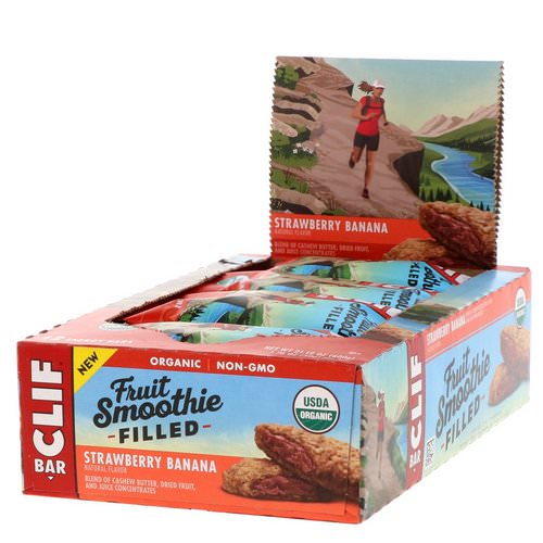 Clif Bar, Energy Bars, Fruit Smoothie Filled, Strawberry Banana, 12 Bars, 1.76 oz (50 g) Each فوائد