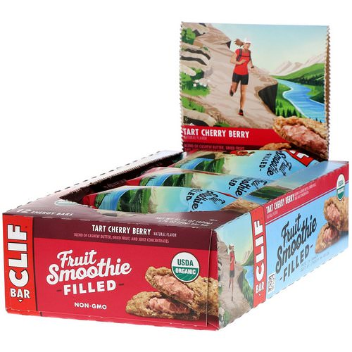 Clif Bar, Energy Bars, Fruit Smoothie Filled, Tart Cherry Berry, 12 Bars, 1.76 oz (50 g) Each فوائد