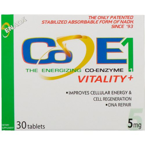 ENADA, The Energizing Co-Enzyme, Vitality+, 5 mg, 30 Tablets فوائد