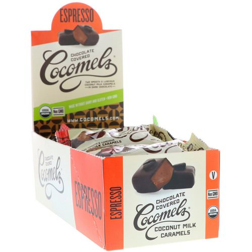 Cocomels, Organic, Chocolate Covered Coconut Milk Caramels, Espresso, 15 Units, 1 oz (28 g) Each فوائد