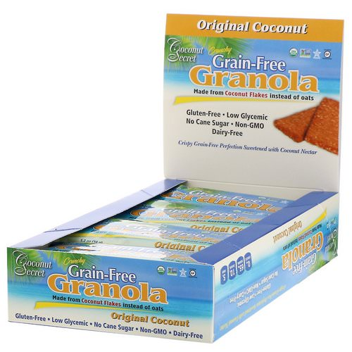 Coconut Secret, Crunchy Grain-Free Granola Bar, Original Coconut, 12 Bars, 1.2 oz (34 g) Each فوائد