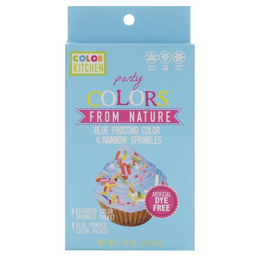 ColorKitchen, Party, Colors From Nature, Blue Frosting Color & Rainbow Sprinkles, 1.33 oz (37.74 g) فوائد