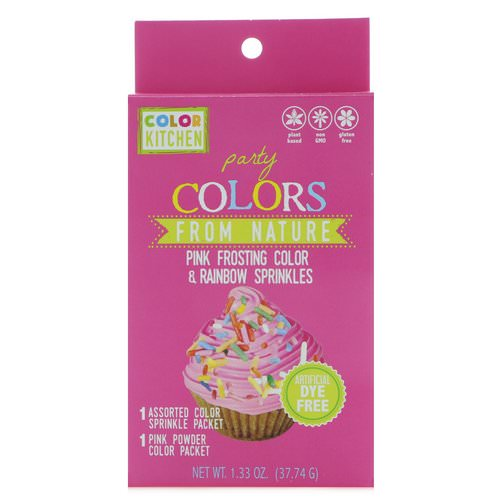 ColorKitchen, Party, Colors From Nature, Pink Frosting Color & Rainbow Sprinkles, 1.33 oz (37.74 g) فوائد