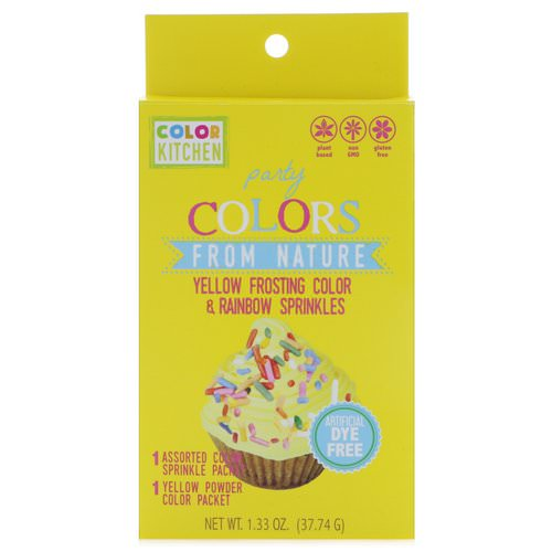 ColorKitchen, Party, Colors From Nature, Yellow Frosting Color & Rainbow Sprinkles, 1.33 oz (37.74 g) فوائد
