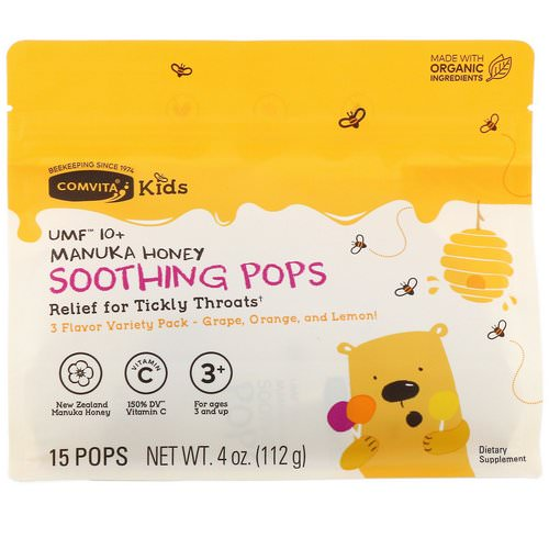 Comvita, Kids, Soothing Pops, UMF 10+ Manuka Honey, Variety Pack, 15 Pops, 4 oz (112 g) فوائد