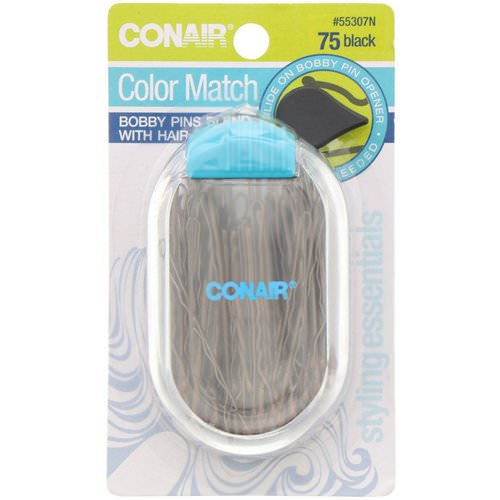 Conair, Color Match, Bobby Pins, Black, 75 Pieces فوائد