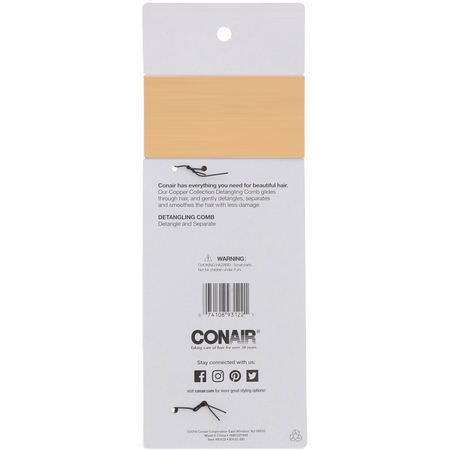 Conair, Copper Collection, Detangling Comb, 1 Comb:أمشاط, فراشي شعر