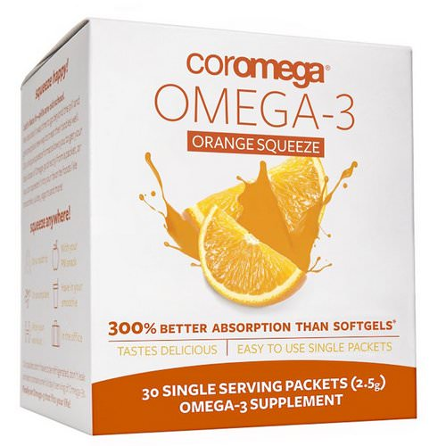 Coromega, Omega-3, Orange Squeeze, 30 Packets, (2.5 g) Each فوائد