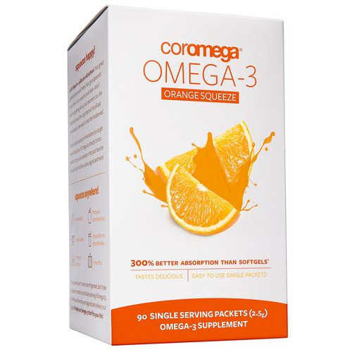 Coromega, Omega-3 Orange Squeeze, 90 Packets, 2.5 g Each فوائد