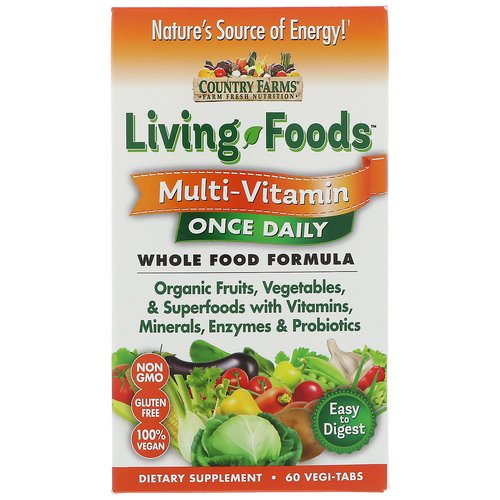 Country Farms, Living Foods, Multi - Vitamin, Once Daily, 60 Vegi-Tabs فوائد