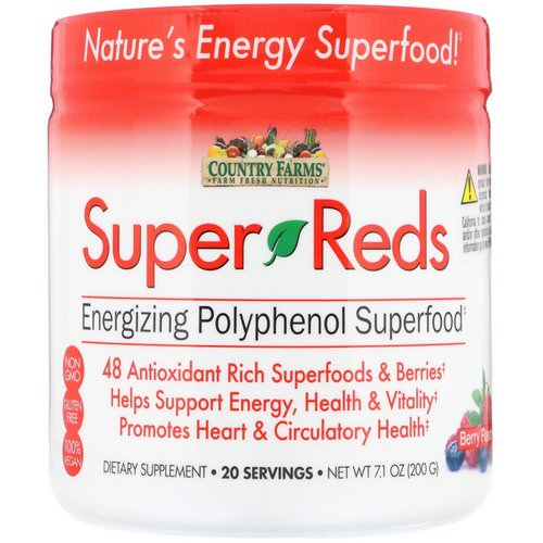 Country Farms, Super Reds, Energizing Polyphenol Superfood, Berry Flavor, 7.1 oz (200 g) فوائد