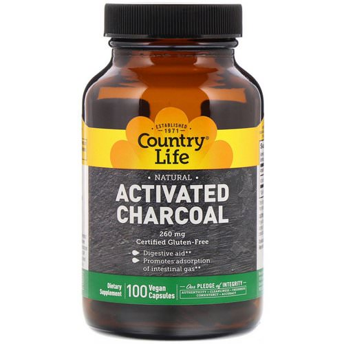 Country Life, Activated Charcoal, 260 mg, 100 Vegan Capsules فوائد