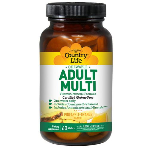 Country Life, Adult Multi, Chewable, Pineapple-Orange Flavor, 60 Wafers فوائد