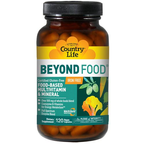 Country Life, Beyond Food, Multivitamin & Mineral, Iron Free, 120 Vegan Caps فوائد