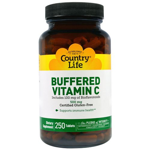 Country Life, Buffered Vitamin C, 500 mg, 250 Tablets فوائد