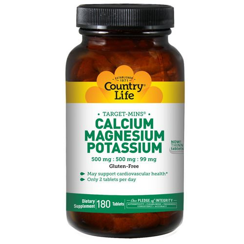 Country Life, Calcium, Magnesium, and Potassium, 500 mg : 500 mg : 99 mg, 180 Tablets فوائد