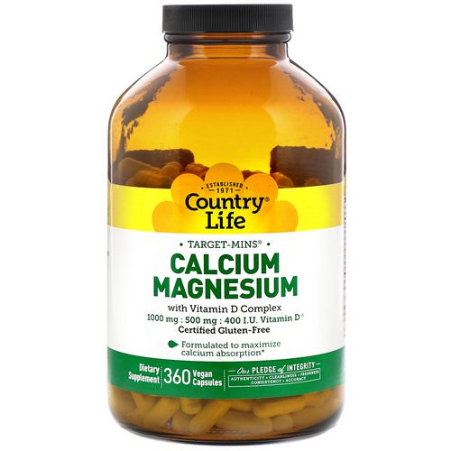 Country Life, Calcium Magnesium, with Vitamin D Complex, Gluten Free, 360 Vegan Capsules فوائد