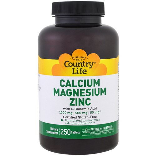 Country Life, Calcium Magnesium Zinc, 250 Tablets فوائد