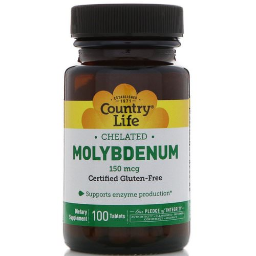 Country Life, Chelated Molybdenum, 150 mcg, 100 Tablets فوائد