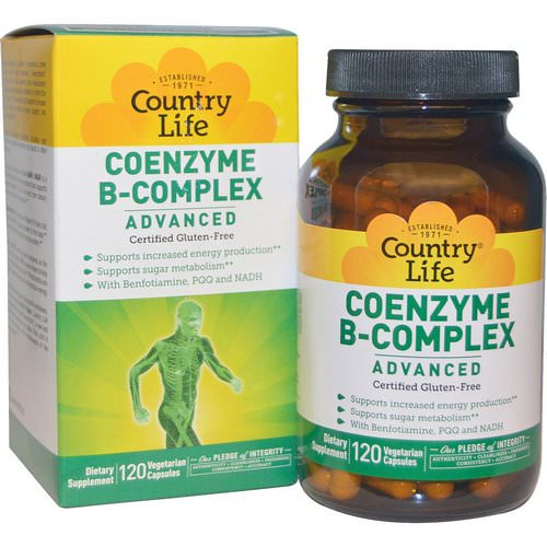 Country Life, Coenzyme B-Complex, Advanced, 120 Vegetarian Capsules فوائد