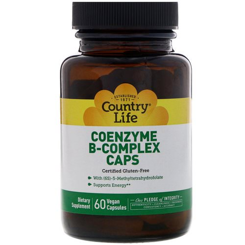 Country Life, Coenzyme B-Complex Caps, 60 Vegan Capsules فوائد