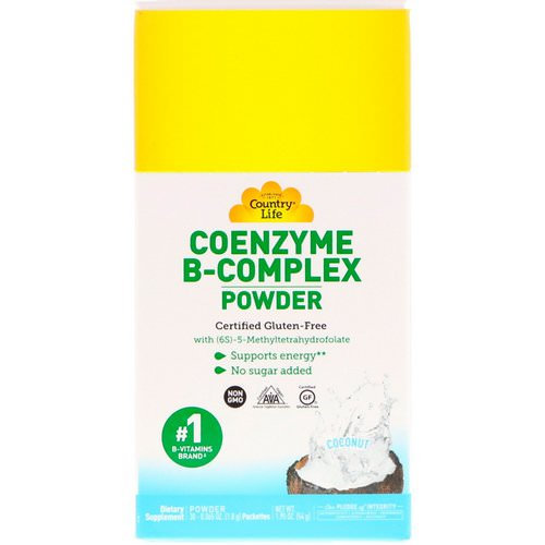 Country Life, Coenzyme B-Complex Powder, Coconut, 30 Packets, 0.065 oz (1.8 g) فوائد