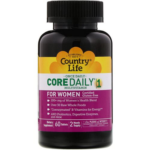 Country Life, Core Daily-1 Multivitamin, Women, 60 Tablets فوائد