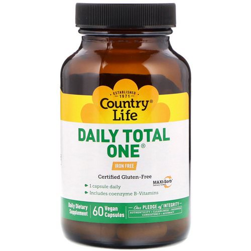 Country Life, Daily Total One, Iron-Free, 60 Vegan Capsules فوائد