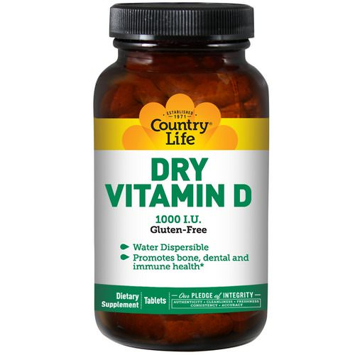 Country Life, Dry Vitamin D, 1000 IU, 100 Tablets فوائد