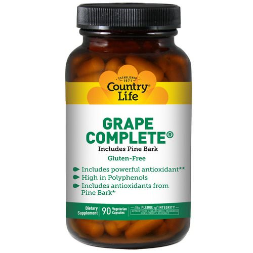 Country Life, Grape Complete, Includes Pine Bark, 90 Veggie Caps فوائد