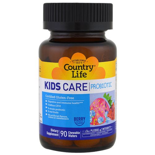 Country Life, Kids Care Probiotic, Berry Flavor, 90 Chewable Wafers فوائد